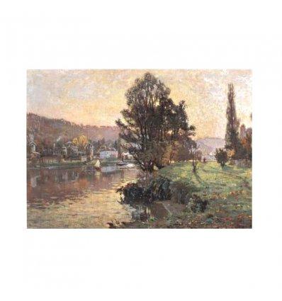 La malul lacului - tablou pe sevalet