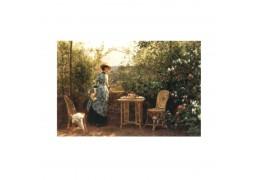 Doamna din gradina - tablou pe sevalet