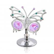 Fluturas cu cristale Swarovski roz si vernil