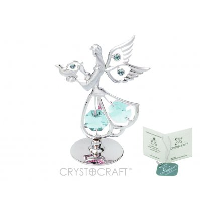 Ingeras auriu cu cristale Swarovski albastre