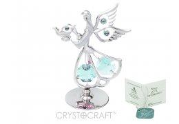 Ingeras argintiu cu cristale Swarovski albastre