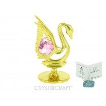 Lebada aurie cu cristal Swarovski roz