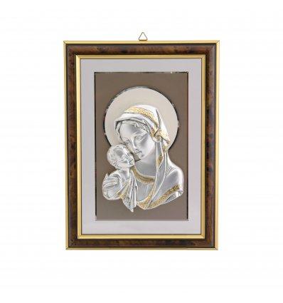 Icoana argintata inramata cu Fecioara Maria si Pruncul 25*19 cm