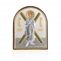 Sfantul Andrei - Icoana pe foita de argint si rama din piele 8.5*10.5 cm
