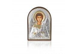 Arhanghelul Mihail - Icoana pe foita de argint si rama din piele