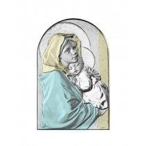Icoana argintata color Maica Domnului si pruncul Iisus 9*6cm