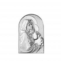Icoana argintata cu Maica Domnului si pruncul Iisus 11*17cm
