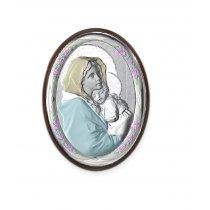 Icoana pe foita de argint Maica si Pruncul - Marturie botez 5*7cm