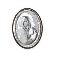 Icoana argintata cu Maica Domnului si Pruncul 10*7.5 cm