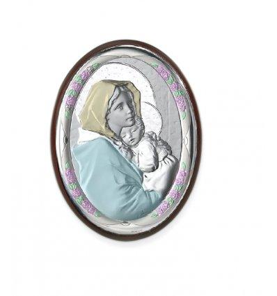 Icoana argintata color Maica Domnului si Pruncul 10*7.5 cm
