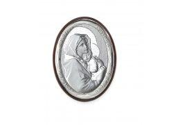 Icoana argintata cu Maica Domnului si Pruncul 18*13 cm