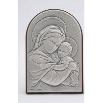 Icoana argintata Maica Domnului si Pruncul 6*9 cm