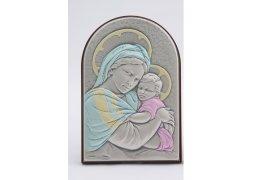 Icoana argintata color cu Maica Domnului si Pruncul 12*8 cm