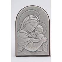 Icoana argintata Maica Domnului si Pruncul 19*11 cm