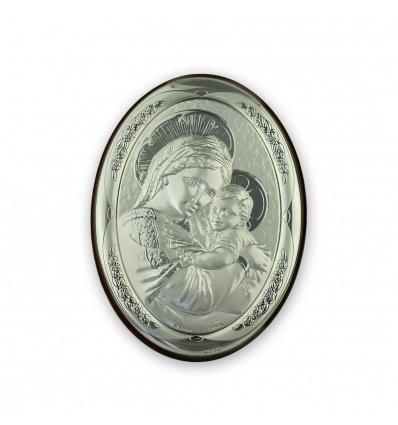 Icoana argintata Maica Domnului si Pruncul 10x7.5 cm