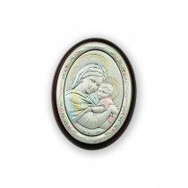 Icoana argintata color cu Maica Domnului si Pruncul 10*7.5 cm