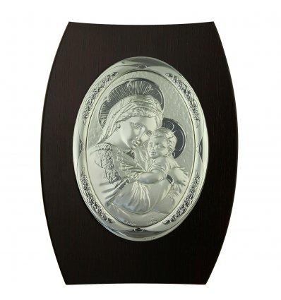 Icoana argintata ovala pe lemn cu Fecioara si Pruncul 25*17cm