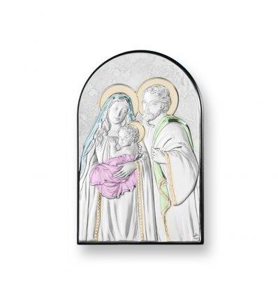 Icoana argintata color Sacra Familie 12*8 cm