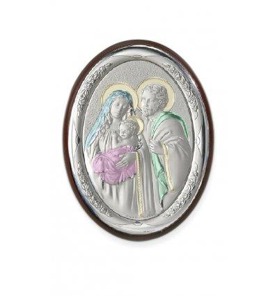 Icoana argintata color Sacra Familie 7*5 cm