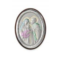 Icoana argintata color cu Sacra Familie  18*13 cm