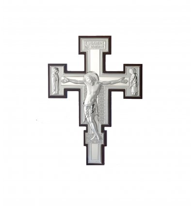 Crucifix argintat  Iisus pe suport de lemn 25*19 cm