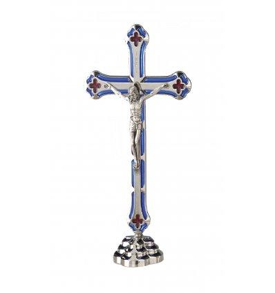 Statueta crucifix argintat Iisus pe suport metalic 15*8 cm