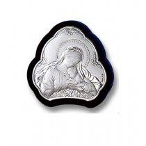 Iconita argintata pe suport lemn wenge Maica cu pruncul 5*5 cm