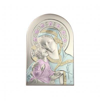 Icoana argintata color Maica Domnului si pruncul 12*8 cm