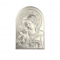Icoana argintata  Maica Domnului si pruncul 12*8 cm