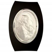 Icoana argintata pe suport de lemn cu Fecioara si Pruncul 25*17.5 cm