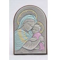 Icoana argintata color cu Maica Domnului si Pruncul 9*6 cm
