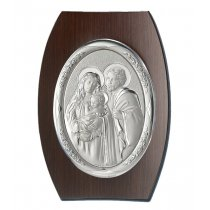 Icoana argintata ovala pe lemn cu Fecioara si Pruncul 15*11cm