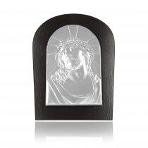 Icoana argintata Iisus pe lemn wenge 17.5*13 cm