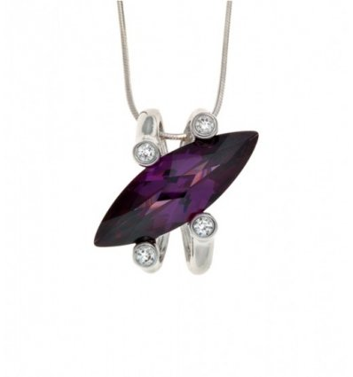 Colier argint cu cubic zirconia violet