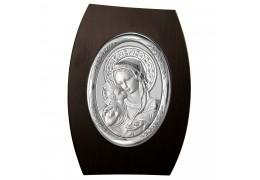 Icoana argintata ovala pe lemn wenge