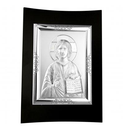 Icoana argintata cu Isus Hristos pe lemn