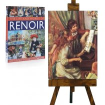 "Tablou pe sevalet ""Young girls at the piano"" Renoir"