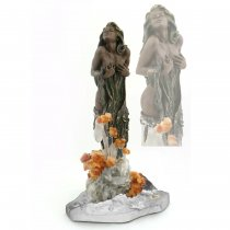Modesty - Statueta din bronz pe suport din agate, cristale si cytrine
