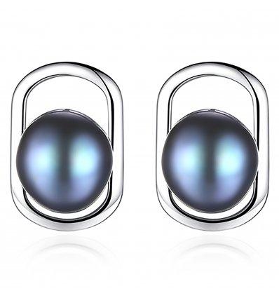 Cercei Argint Grey Pearl