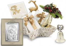 White Winter Holidays - Cos de Craciun cu icoana si clopotel cu Swarovski