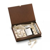 Set trabuc argintat, cutter, scrumiera si recipient whiskey by Chinelli Italy