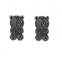 Cercei cu cristale Swarovski Elements Black Diamonds Teddy