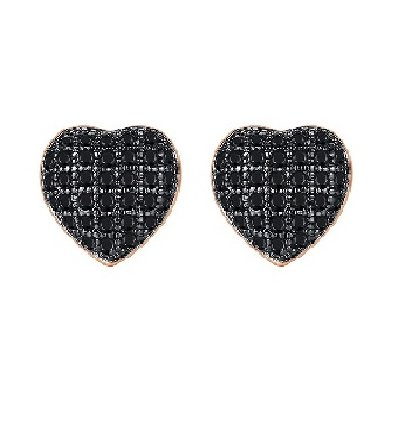 Cercei cu cristale Swarovski Elements Black Heart