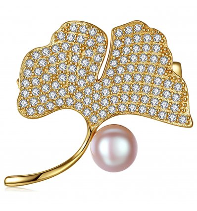 Brosa Ag. 925 placata cu aur cu cristale cubic zirconia Luxury Gold