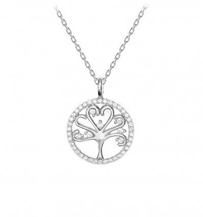 Colier din argint 925 cu cristale cubic zirconia Tree Of Life Silver