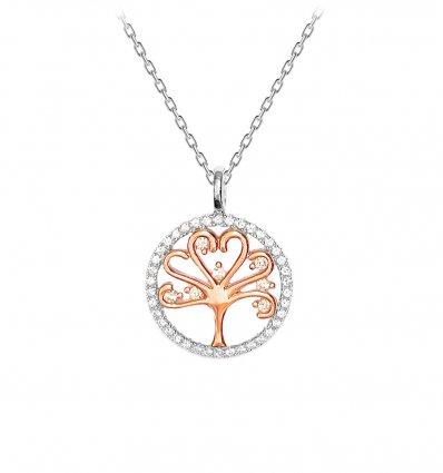 Colier din argint 925 cu cristale cubic zirconia Tree Of Life Rose