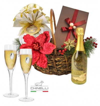 Luxury Golden Gift Basket Chinelli Italy