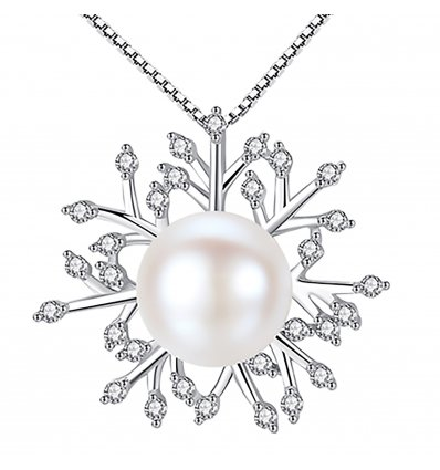 Luxury Silver Snow Flake and Pearl