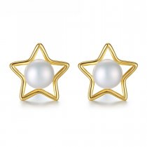 Cercei din argint placati cu aur Gold Pearl Stars