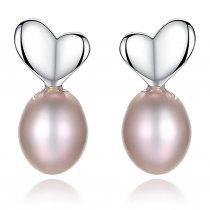 Cercei din argint decorati cu perla Sweet Pink